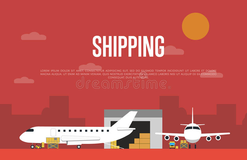 Commercial air shipping service banner royalty free illustration