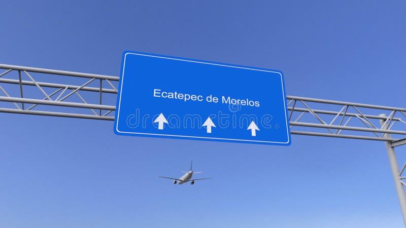 Commercial airplane arriving to Ecatepec de Morelos airport. Travelling to Mexico conceptual 3D rendering. Commercial airplane arriving to Ecatepec de Morelos stock photo