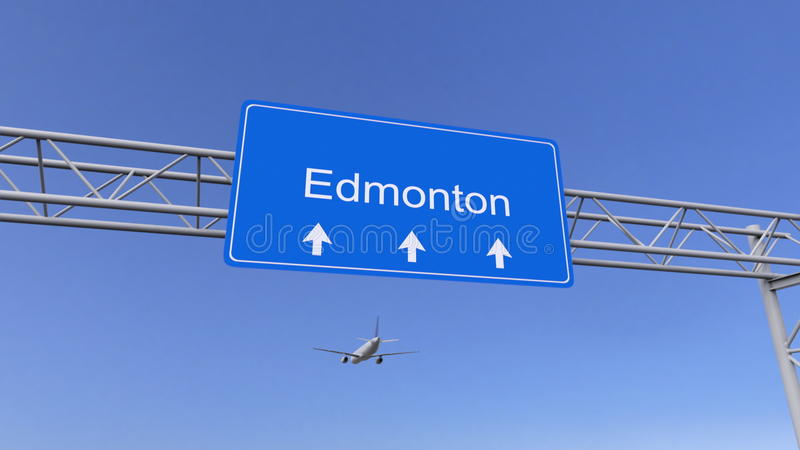 Commercial airplane arriving to Edmonton airport. Travelling to Canada conceptual 3D rendering stock image