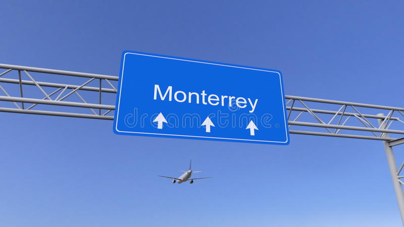 Commercial airplane arriving to Monterrey airport. Travelling to Mexico conceptual 3D rendering. Commercial airplane arriving to Monterrey airport. Travelling to stock images