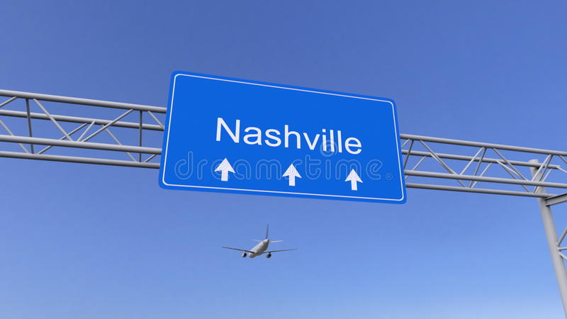 Commercial airplane arriving to Nashville airport. Travelling to United States conceptual 3D rendering. Commercial airplane arriving to Nashville airport stock photo
