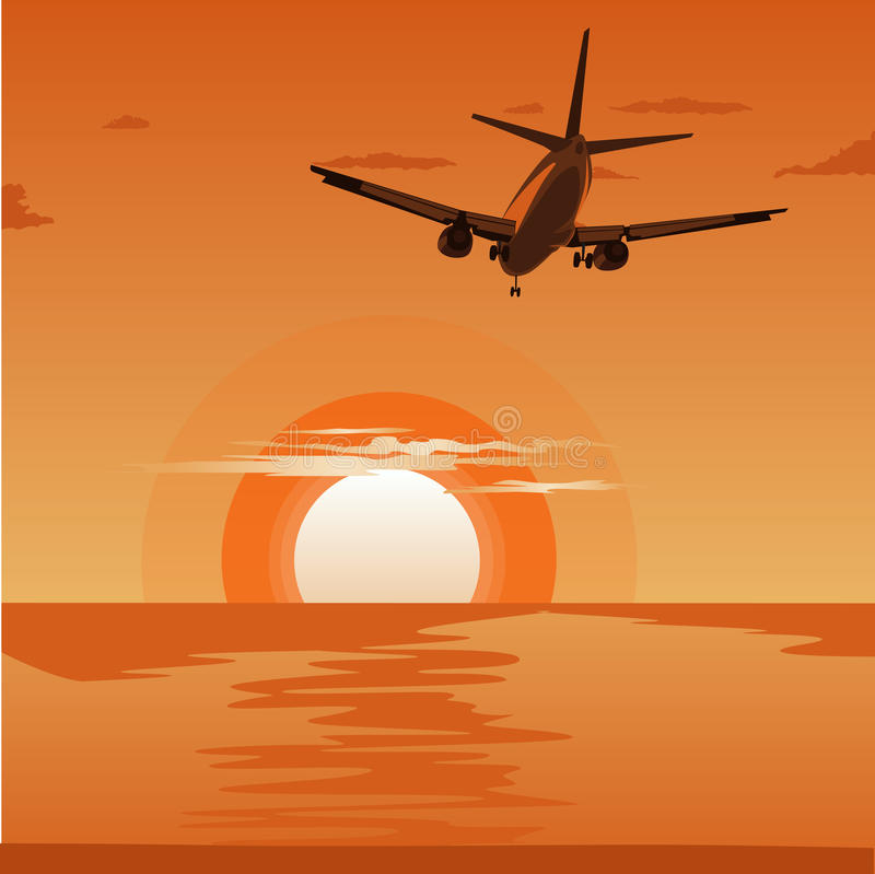 Commercial airplane flying above tropical sea at sunset royalty free illustration