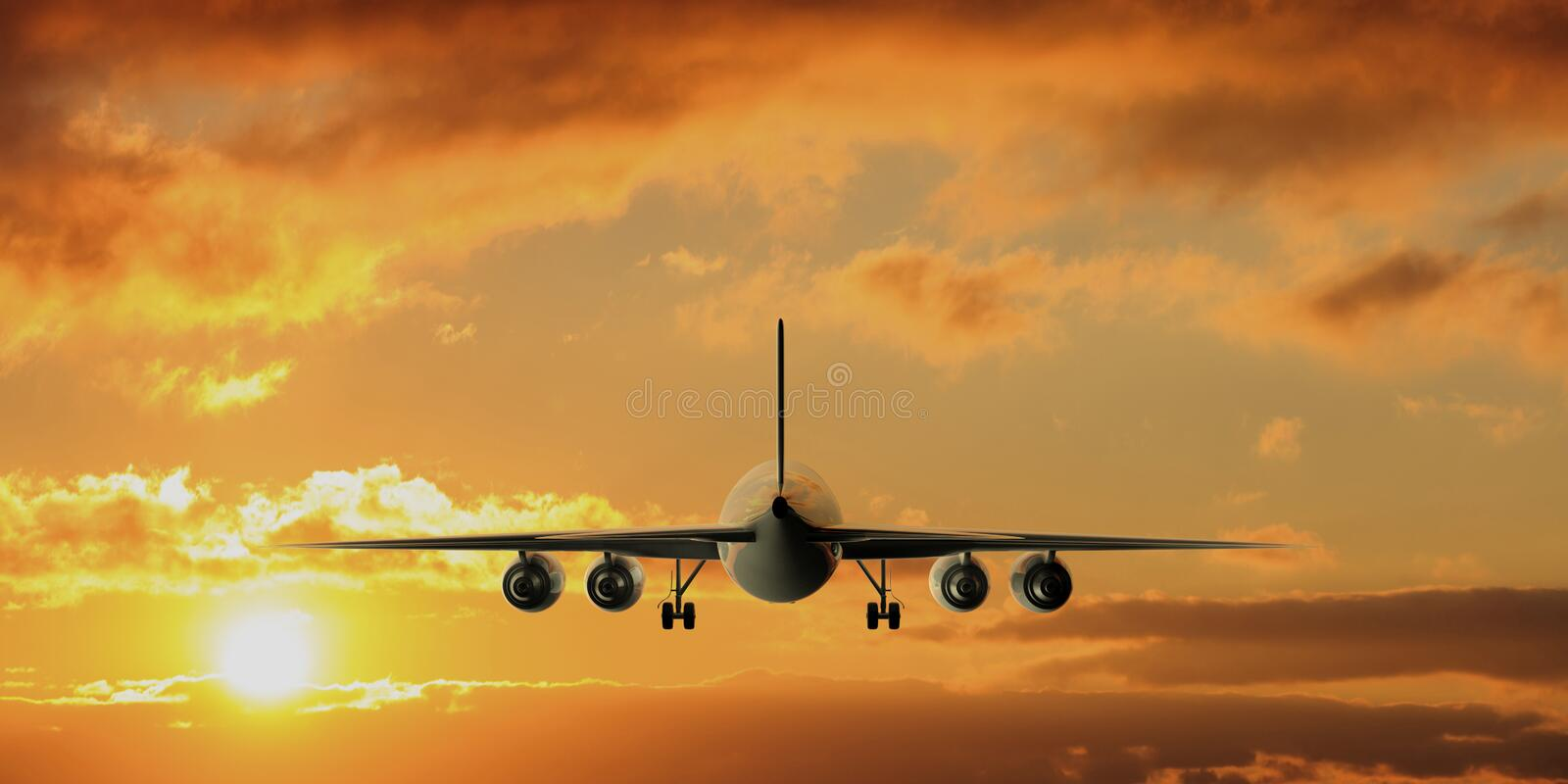 Airplane on sunset or sunrise sky background, back view. 3d illustration stock illustration