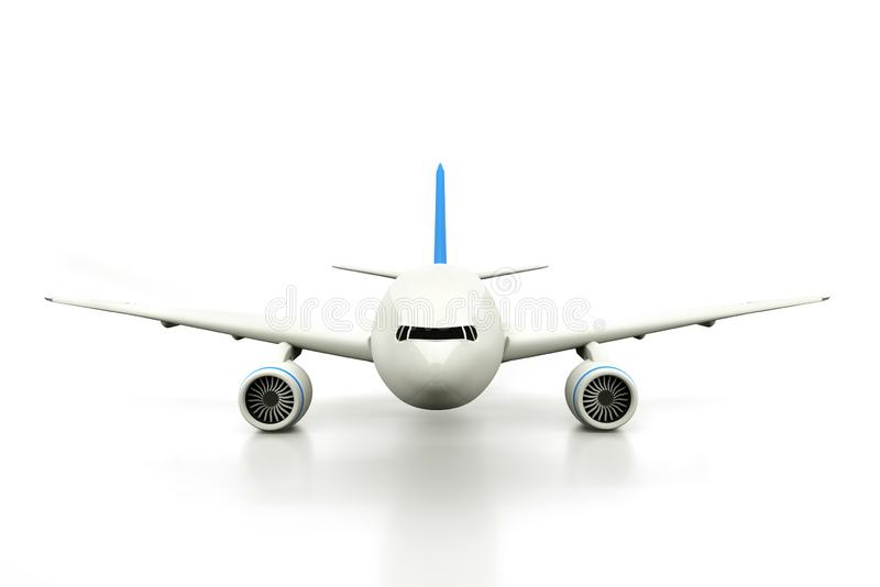 Commercial Airplane isolated on white background. 3D render. Front view.  vector illustration