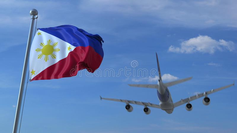 Commercial airplane landing behind waving flag. Travel to Philippines conceptual 3D rendering. Commercial airplane landing behind waving flag. Travel conceptual royalty free illustration