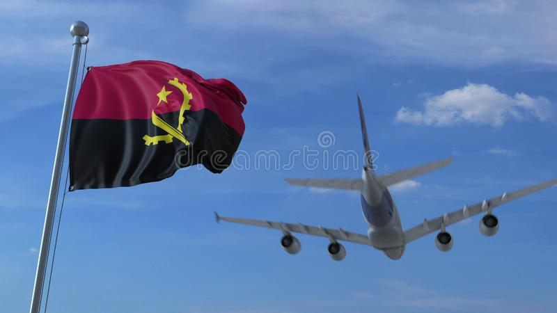 Commercial airplane landing behind waving Angolan flag. Travel to Angola conceptual 3D rendering. Commercial airplane landing behind waving flag. Travel vector illustration