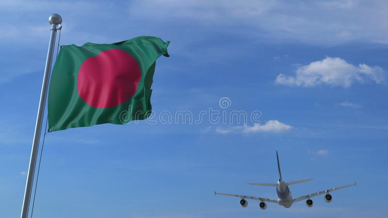 Commercial airplane landing behind waving Bangladeshi flag. Travel to Bangladesh conceptual 3D rendering. Commercial airplane landing behind waving flag. Travel stock illustration