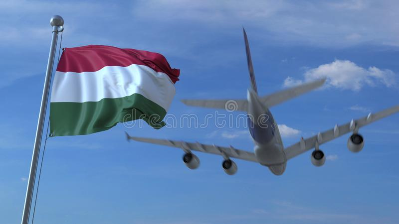 Commercial airplane landing behind waving Hungarian flag. Travel to Hungary conceptual 3D rendering. Commercial airplane landing behind waving flag. Travel stock illustration