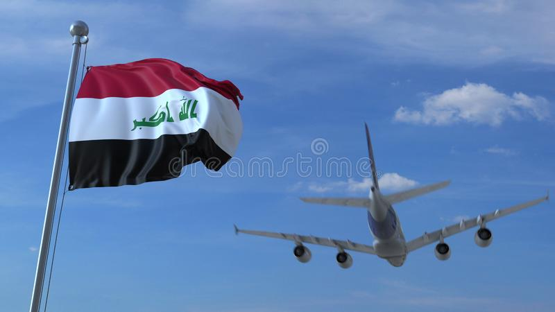 Commercial airplane landing behind waving Iraqi flag. Travel to Iraq conceptual 3D rendering. Commercial airplane landing behind waving flag. Travel conceptual vector illustration