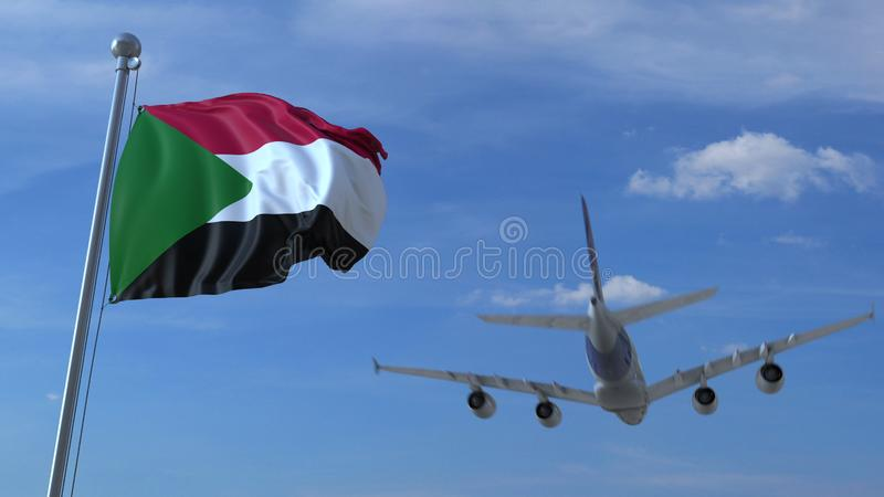 Commercial airplane landing behind waving Sudanese flag. Travel to Sudan conceptual 3D rendering. Commercial airplane landing behind waving flag. Travel stock illustration