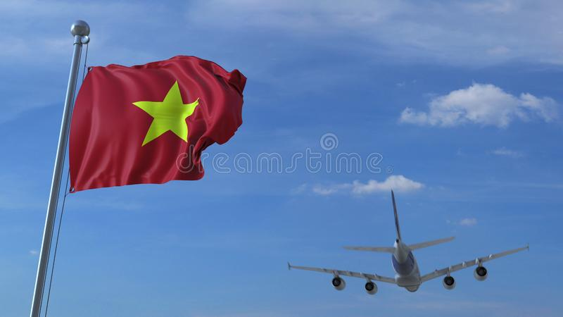 Commercial airplane landing behind waving Vietnamese flag. Travel to Vietnam conceptual 3D rendering. Commercial airplane landing behind waving flag. Travel royalty free illustration