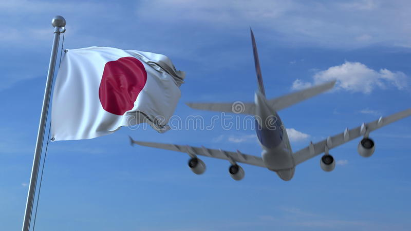 Commercial airplane landing behind waving Japanese flag. Travel to Japan conceptual 3D rendering. Commercial airplane landing behind waving flag stock illustration