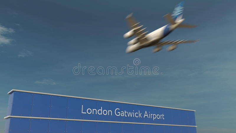 Commercial airplane landing at London Gatwick Airport 3D rendering royalty free stock image