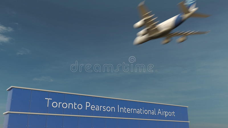 Commercial airplane landing at Toronto Pearson International Airport 3D rendering royalty free stock images