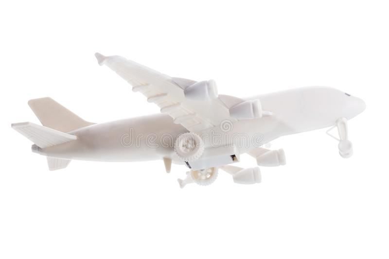 Commercial Airplane Model Plastic on White Background royalty free stock images