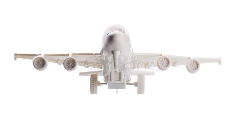 Commercial Airplane Model Plastic on White Background stock images