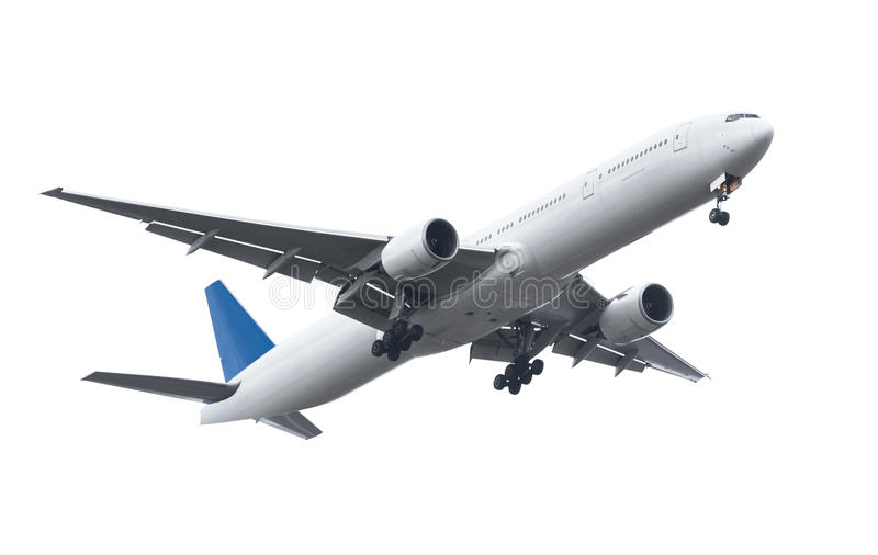 Commercial airplane on white background with clipping path royalty free stock photo