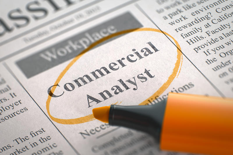 Commercial Analyst Job Vacancy. 3D. A Newspaper Column in the Classifieds with the Jobs of Commercial Analyst, Circled with a Orange Highlighter. Blurred Image stock photo