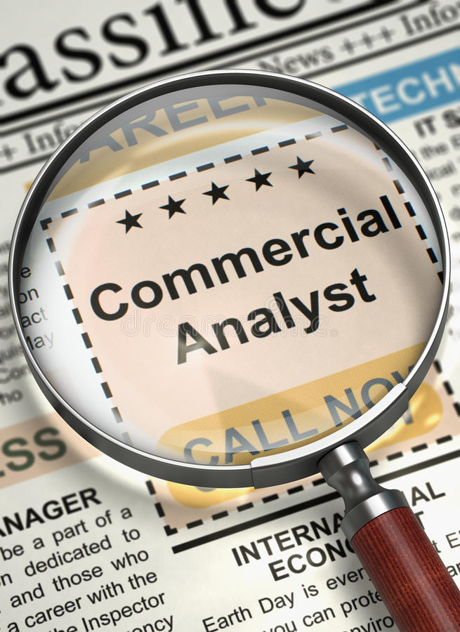 Commercial Analyst Job Vacancy. 3D. Commercial Analyst. Newspaper with the Searching Job. Magnifying Lens Over Newspaper with Jobs Section Vacancy of Commercial royalty free stock image