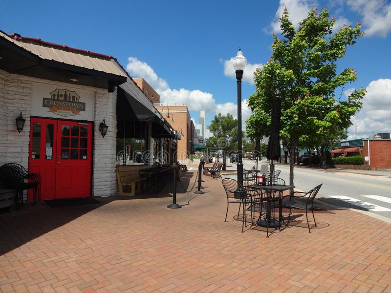 Commercial Area of Historic Downtown Cary, NC. Commercial Area of Historic Downtown Cary, North Carolina Cafes, Theater, Shops royalty free stock photo