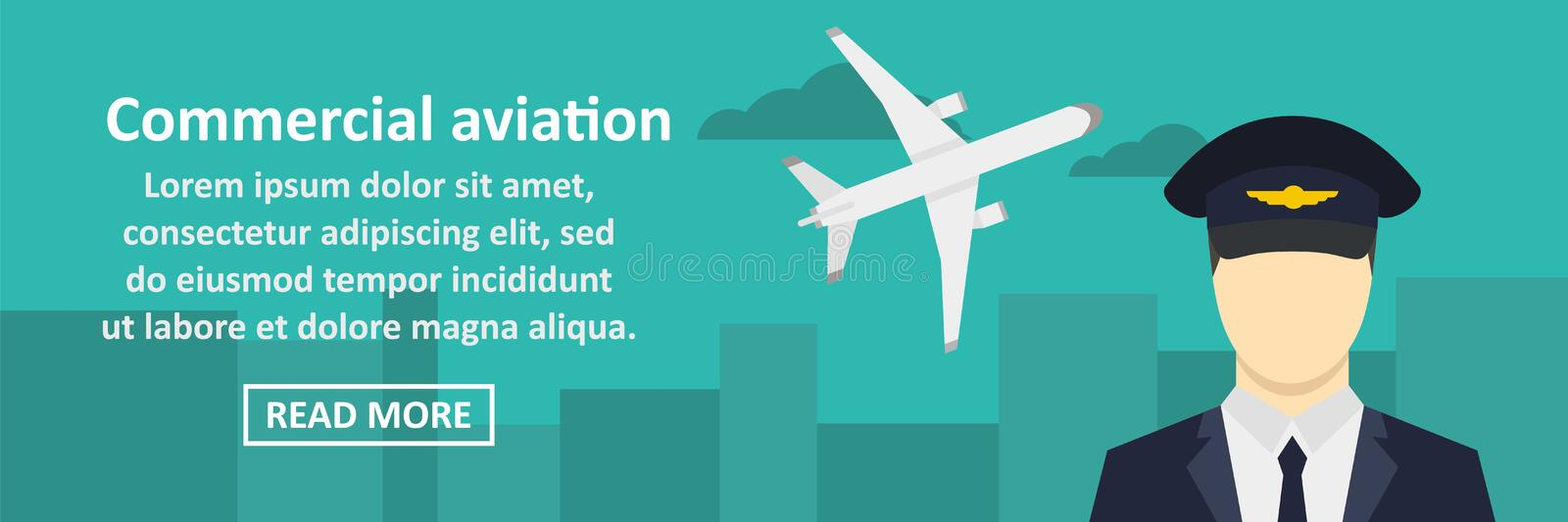Commercial aviation banner horizontal concept. Flat illustration of commercial aviation banner horizontal vector concept for web stock illustration