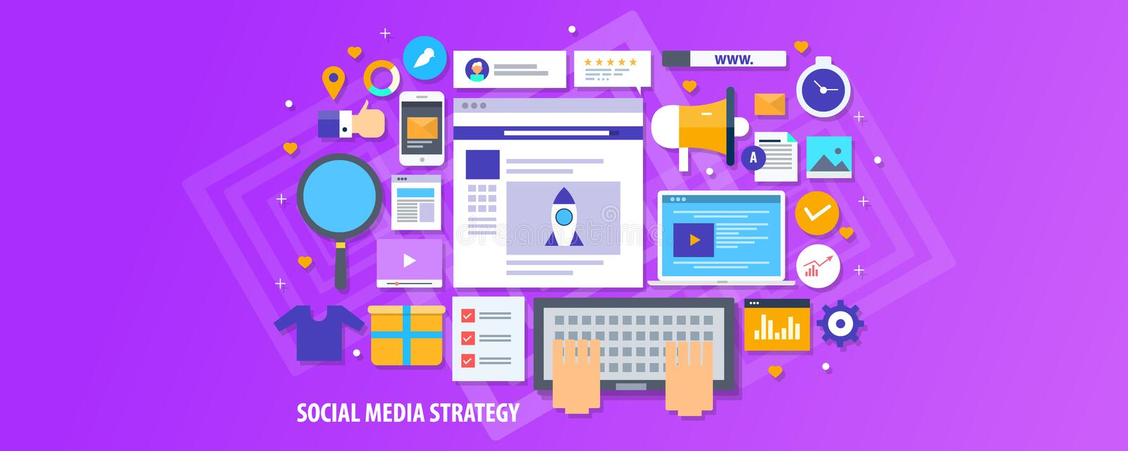 Social media strategy, influencer marketing, content promotion, audience engagement concept. Flat design vector banner. Commercial blogging, content marketing stock illustration