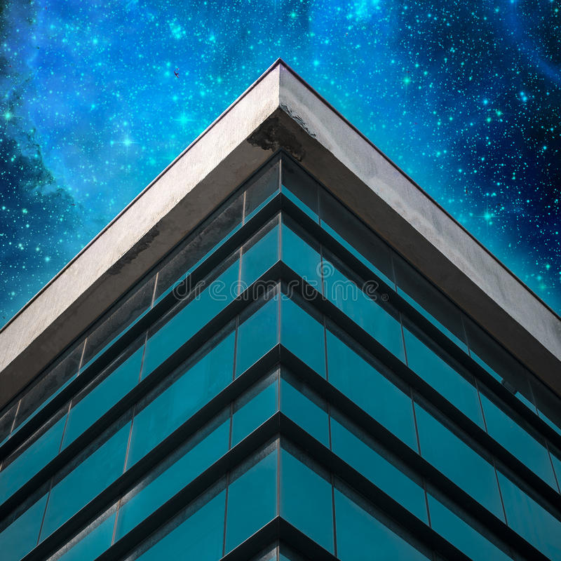 Free Commercial Building Exterior On Star Sky Background. Angle Of Building Glass Walls. Concept Of Modern Architecture Royalty Free Stock Images - 95750979