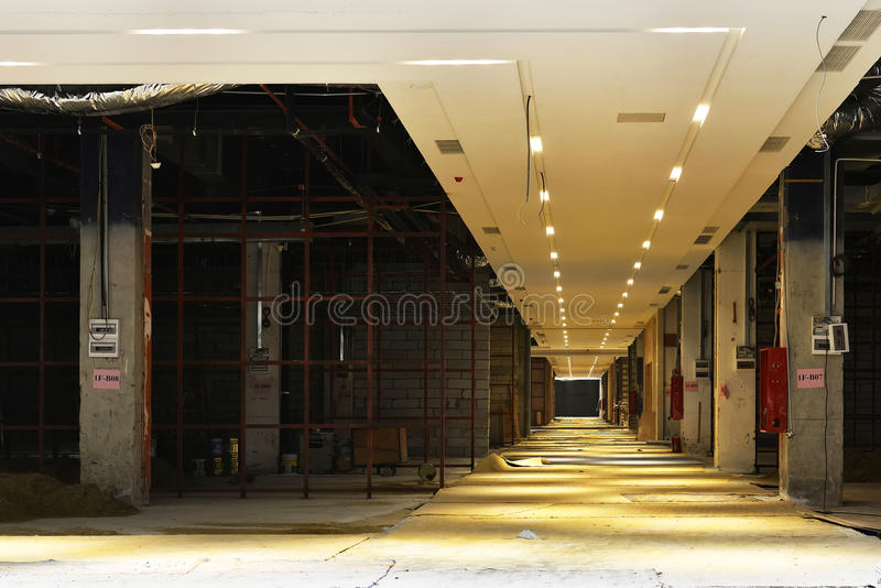 Commercial shopping building is under construction stock image