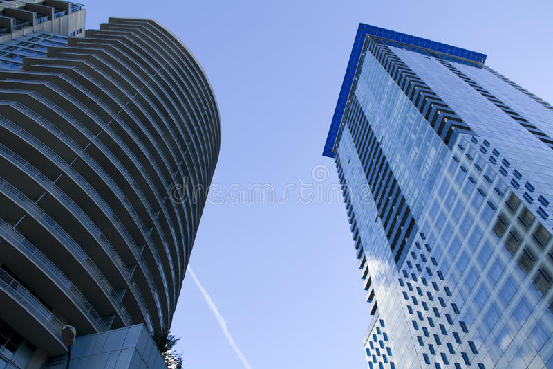 Commercial buildings in downtown Seattle stock photo