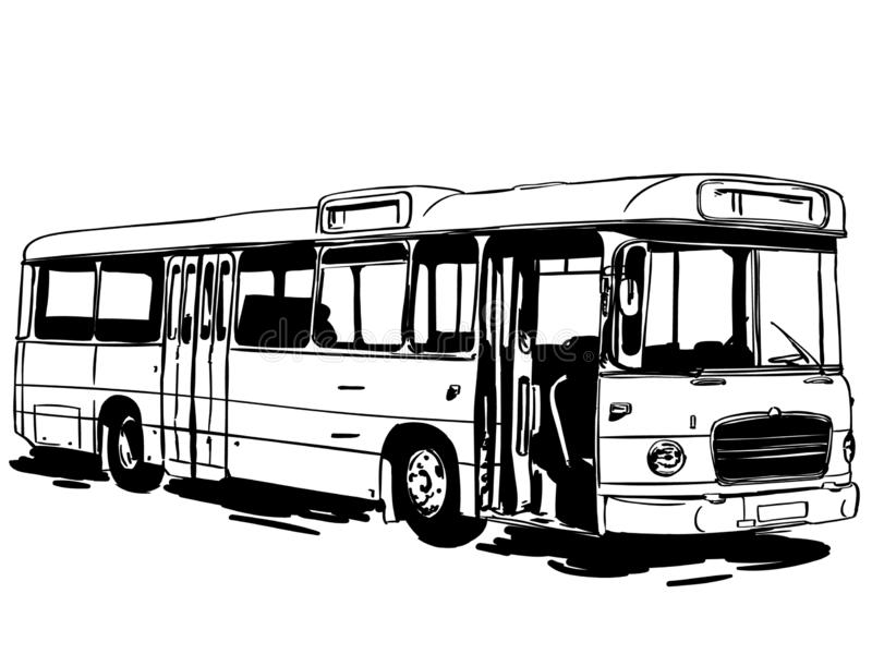 Commercial bus vector eps Hand drawn Crafteroks svg free, free svg file, eps, dxf, vector, logo, silhouette, icon, instant downloa vector illustration