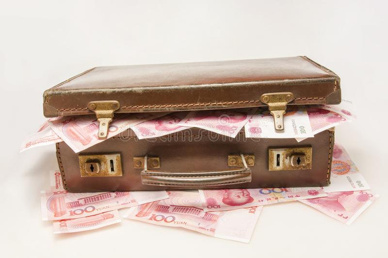 The briefcase full with China RMB royalty free stock photo