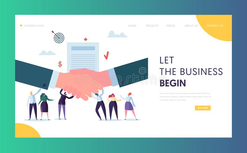 Commercial Business Cooperation Concept Landing Page. People Character Stand on Businessman Shaking Hand. Trust Partnership Symbol. Website or Web Page. Success vector illustration
