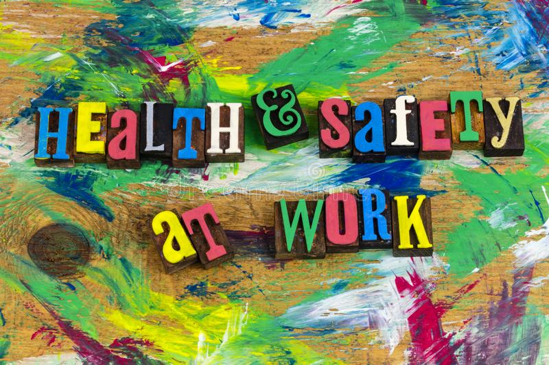 Health safety work place committment. Commercial business workplace place health and safety first at work environment quality employees insurance medical royalty free stock photo