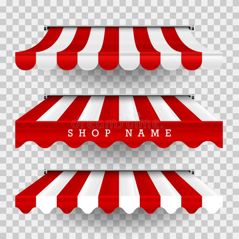 Free Commercial Canopy Awning Series. Vector Pop Up Store. Striped Awnings. Design Element For Poster, Banner, Advertising Stock Photography - 130119702