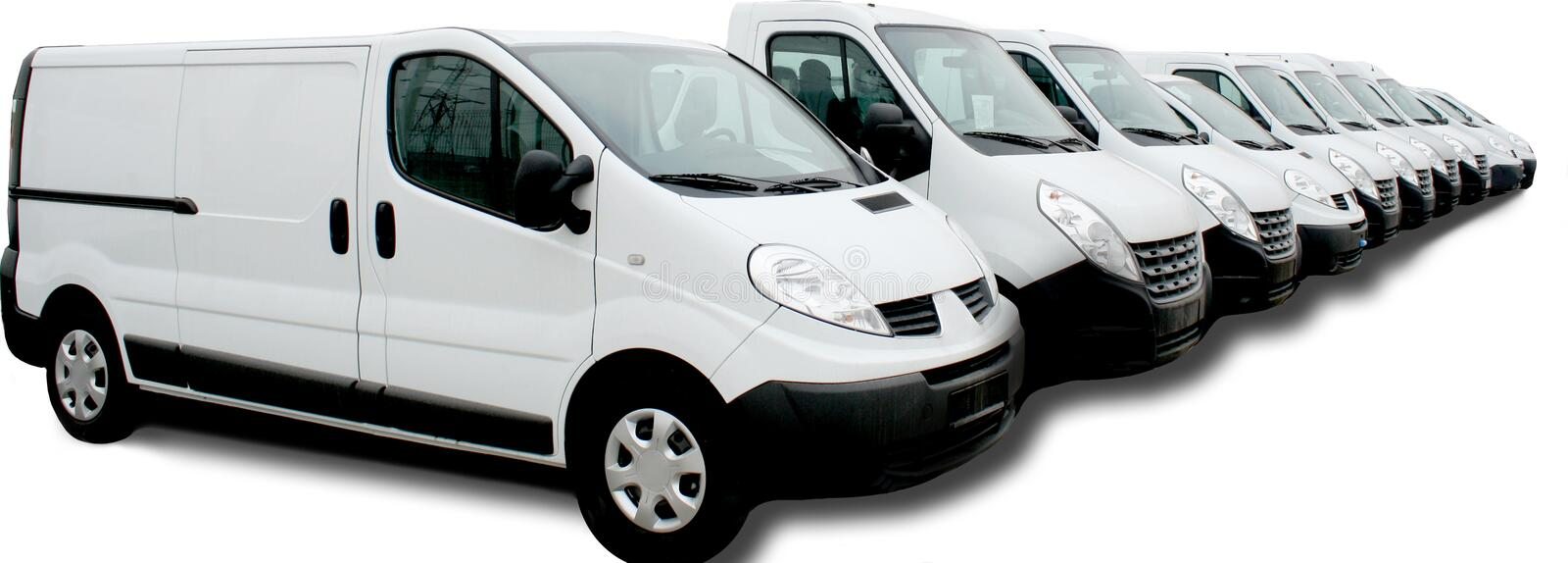 Commercial car fleet. Row of white commercial cars on white background royalty free stock photo