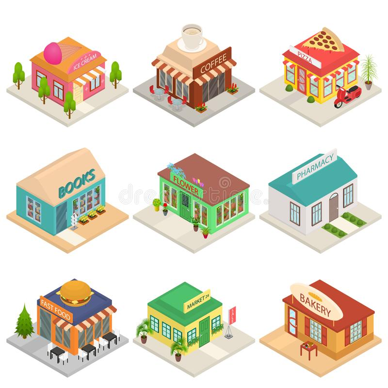 Commercial City Shops Signs 3d Icons Set Isometric View. Vector. Commercial City Shops Signs 3d Icons Set Isometric View Include of Coffee, Bakery, Book vector illustration