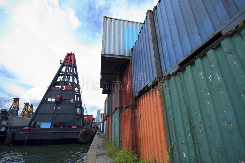 Download Commercial container port stock photo. Image of nautical - 15383284