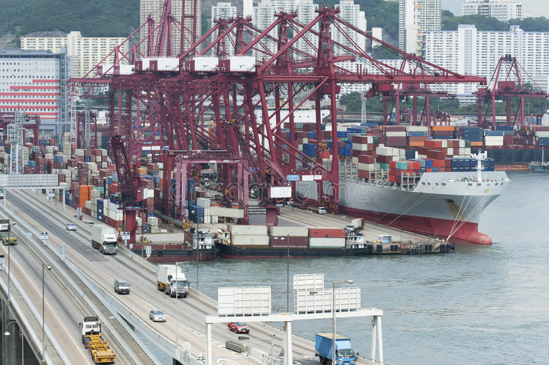 Download Commercial container port stock photo. Image of merchandise - 26282026