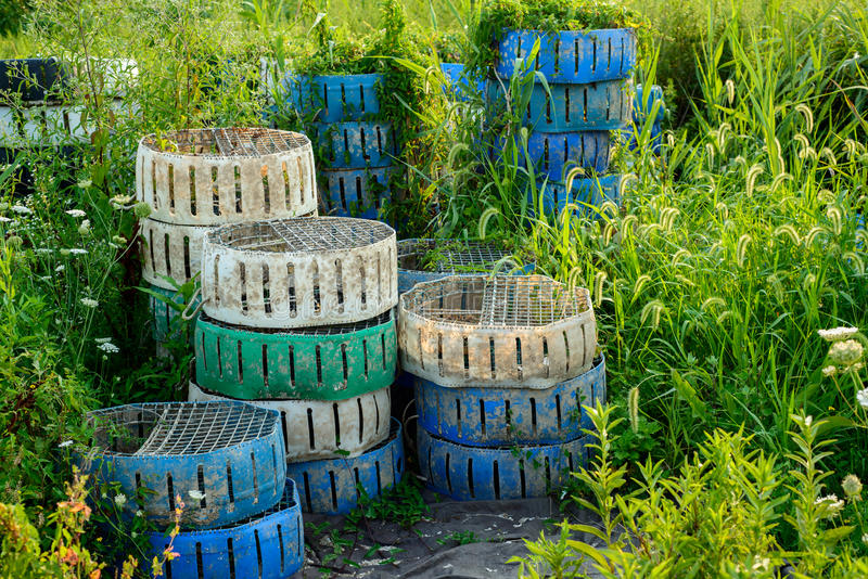 Commercial crab fishing storage cans stacked on shore royalty free stock images