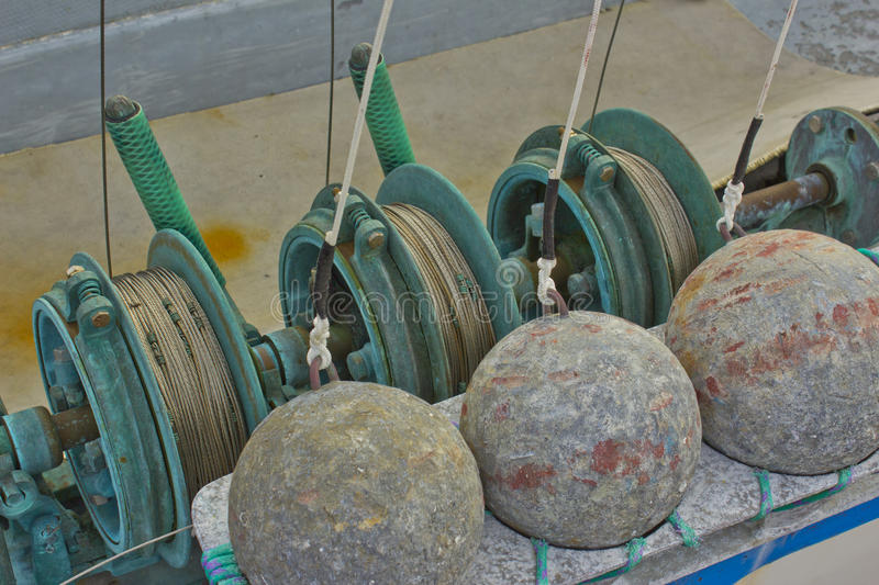 Commercial Downrigger Fishing Gear royalty free stock images