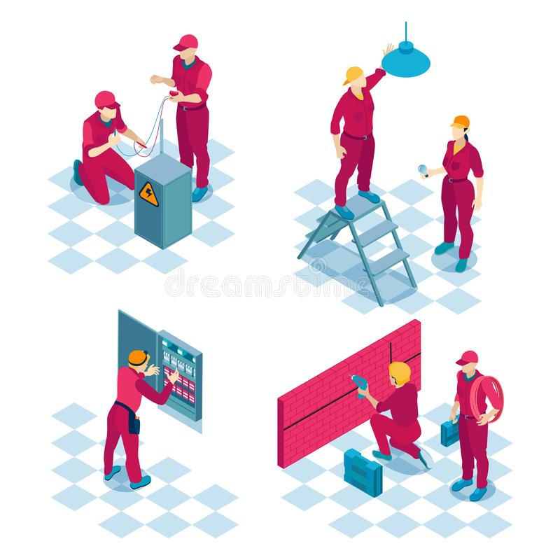 Commercial Electricians Isometric Concept. Qualified electricians job concept 4 isometric compositions with construction wiring installation repair team red stock illustration
