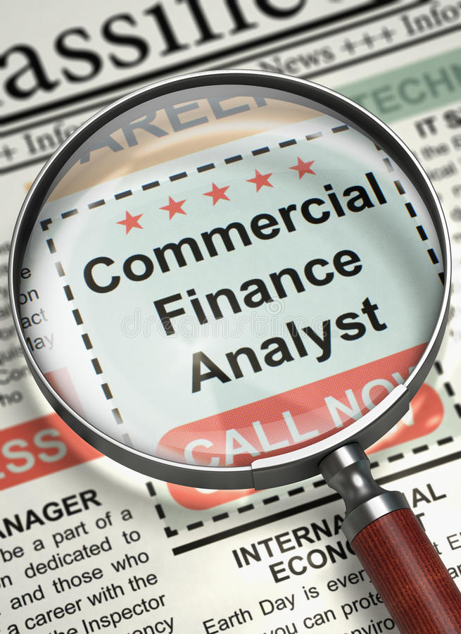 Commercial Finance Analyst Wanted. 3D. stock illustration