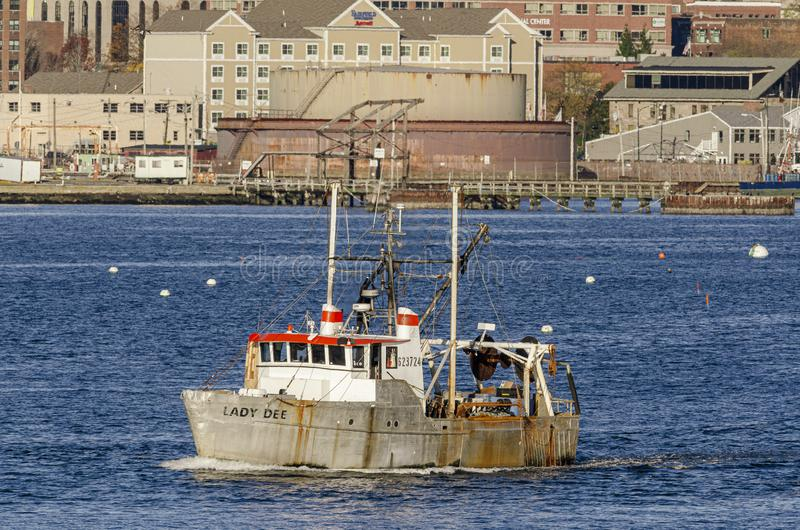 Commercial fishing boat Lady Dee going fishing. New Bedford, Massachusetts, USA - November 2, 2019: Commercial fishing boat Lady Dee, hailing port Yarmouth royalty free stock photography
