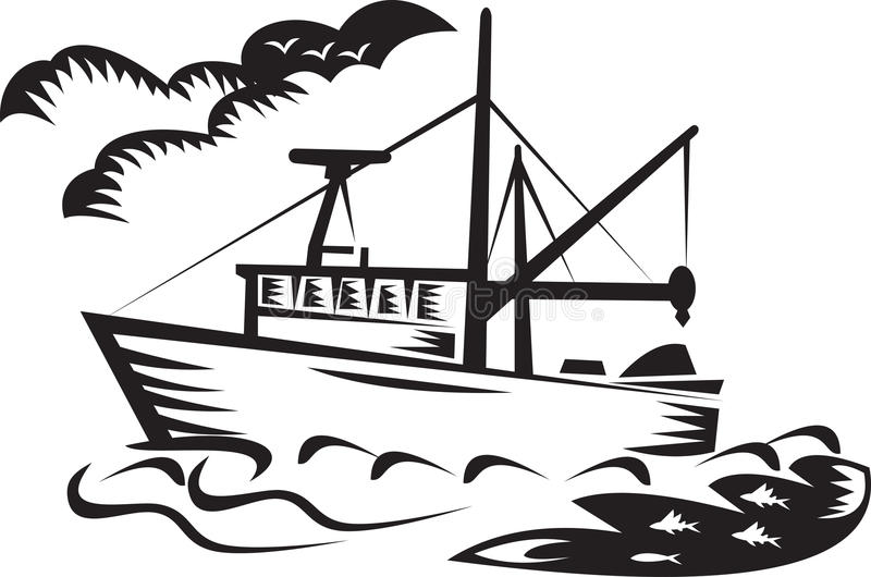 Download Commercial Fishing Boat Ship Sea Woodcut Stock Illustration - Illustration of bird, vessel: 21632721