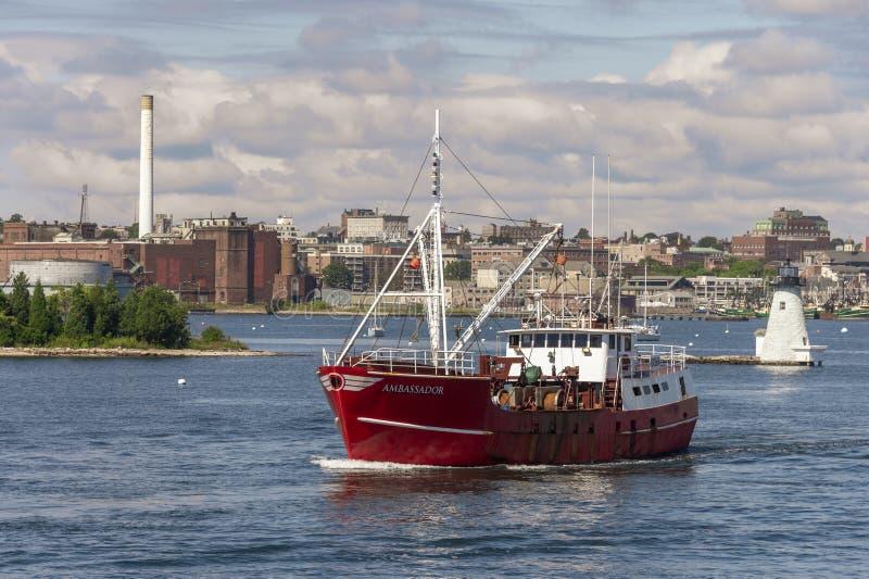 Commercial fishing vessel Ambassador passing Palmer Island Light. Fairhaven, Massachusetts, USA - September 15, 2018: Eastern rig scalloper Ambassador with New stock images