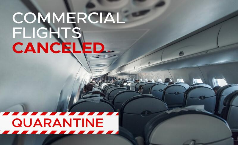 Commercial flights canceled. Interior airplane. Commercial flights canceled due to pandemic and quarantine. Interior airplane with passengers. Aircraft cabin royalty free stock photography