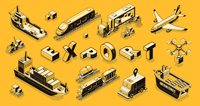 Commercial cargo export isometric vector concept. Commercial goods export isometric vector concept with air, road, maritime freight transport line art stock illustration