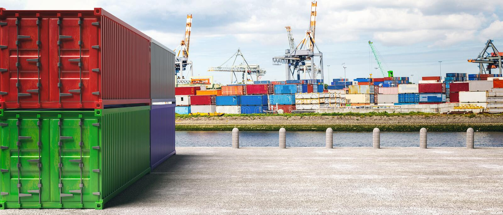 Cargo containers, harbor background. Import export, logistics concept. 3d illustration stock illustration