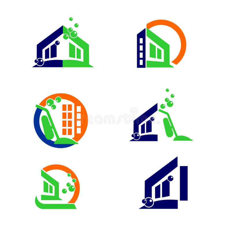 Commercial Home Cleaning Logo And Apps Icon Design Elements Stock ...