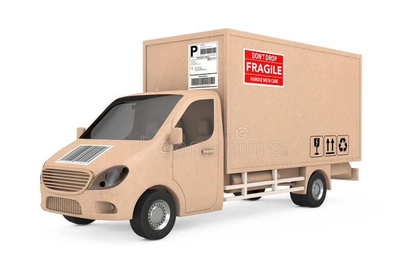Commercial Industrial Cargo Delivery Van Truck as Carton Parcel Box. 3d Rendering royalty free illustration